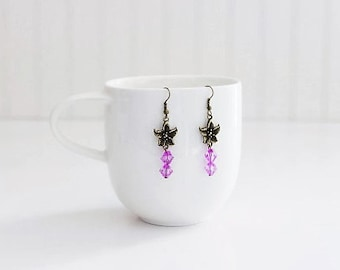 Purple Bead Flower Dangle Earrings