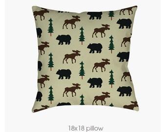 Rustic Moose and Bear Adirondack Lodge Cabin, Camping, Log Home Pillow | Decorative Pillows | Outdoor Pillows | Pillow Insert
