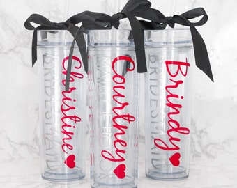 Custom skinny tumblers, bridal set, personalized cups, bridal shower gift, wedding gift, wedding favors, bridesmaids gift, wedding cup