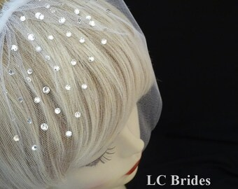 Crystal Birdcage Veil, Birdcage Veil, Birdcage Veil Edged with Crystals, Birdcage Blusher Veil, Short Veil, Blusher Veil, Crystal Edged Veil