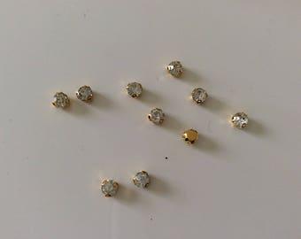 Set of 100 rhinestones 3 tooth has sew 4.5 mm gold