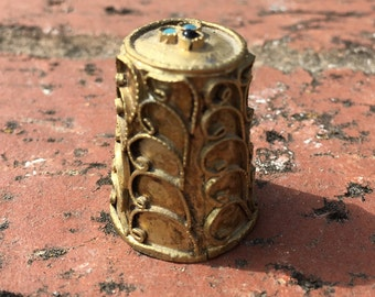 """Vintage 70's   """"BRASS WIRED THIMBLE"""" with 3 Gemstones on Top of Thimble"""