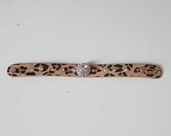 Leopard with Rhinestones snap Cuff Bracelet