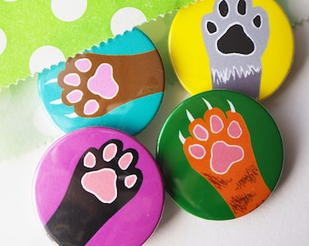 Cute Paw Cat Badges, Cat lover gift, button badges, lapel pin, Pin badge, party bag fillers, party favours, Kitty toes