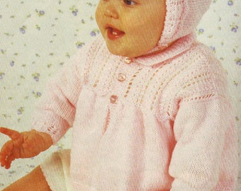 Vintage Knitting Pattern Knit Baby Girl Matinee Coat and Bonnet Set Outfit PDF Instant Digital Download Preemie to 9 months 4 Ply