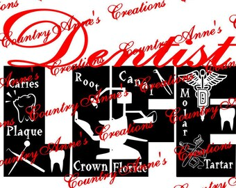 "SVG PNG DXF Eps Ai Wpc Cut file for Silhouette, Cricut, Pazzles, ScanNCut  -""Dentist Life""  svg"