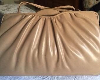 Vintage Judith Leiber Light Camel Soft Leather Handbag