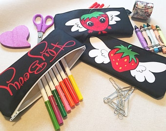 Back to School, Kids Gift Idea, Fruit Lover Gift, Strawberry Pencil Case, Coin Pouch, Make-up Bag, Change Purse, Fabric Zipper Pouch