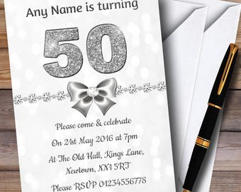 White Bokeh & Silver Glitter Look 50Th Personalised Birthday Party Invitations