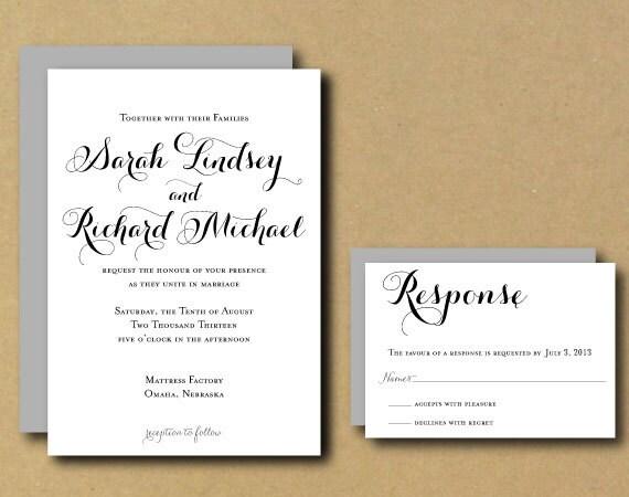 Customizable Wedding Invitation Templates: Wedding Invitation Template Printable Custom DIY Wedding