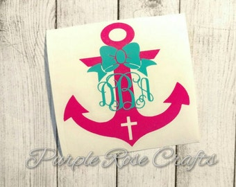 Cross Anchor Bow Monogram initials Decal for Car, Window, Tablet, Laptop, Cup