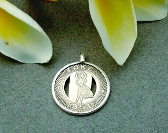 Hawaiian Hula Girl HonoluluToken Sterling Pendant