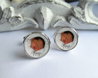 Personalized Photo Cufflinks, Custom Cuff Links With Name And Date