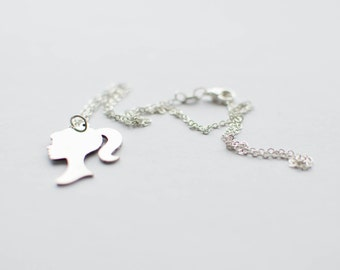 Barbie necklace. Sterling silver chain