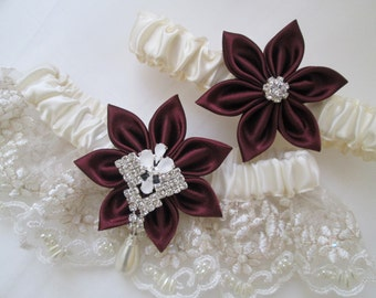 Marsala Wedding Garter Set, Wine Red- Cranberry- Maroon- Red Garters, Ivory Bridal Lace, Pearls, Valentine Bride