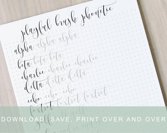 Another fancy brush lettering worksheet calligraphy tutorial
