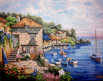 "Gobelin Tapestry Needlepoint Kit ""Landscape""  printed canvas 513"