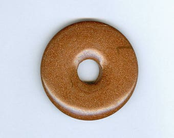 Goldstone Donut Focal, 45mm Brown Goldstone Glass PI Donut Focal Pendant 1225