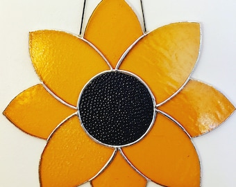 Large Sunflower Stained Glass Suncatcher Wall Hanging Spring Summer