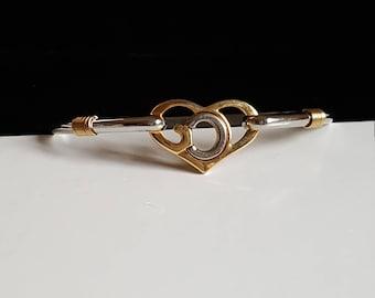2 tone heart bracelet