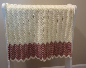 Off White and Rose Color Ripple Baby Afghan - Ready to be Shipped