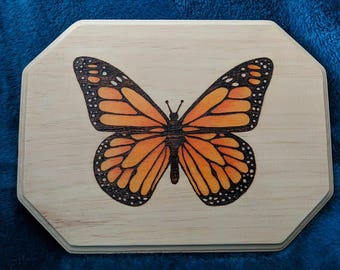 Monarch Woodburned Plaque