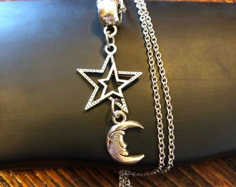 Double Stars and Moon Necklace with Stainless Steel Chain