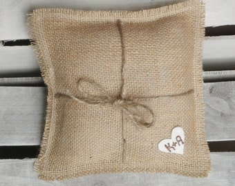 """8"""" x 8"""" Natural Burlap Ring Bearer Pillow w/ Jute Twine and Wool Felt Heart-Personalize w/ Initials- Rustic/Country/Shabby Chic/Folk/Wedding"""