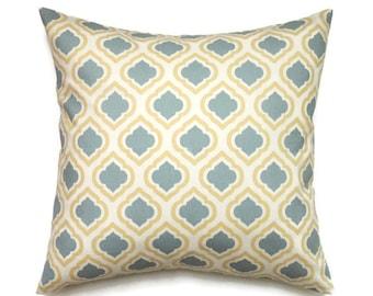 Yellow and Blue Pillow Cover, 20x20 Pillow Cover, Trefoil Decorative Pillows, Designer Couch Pillow, Blue Pillow Cover Curtis Saffron Macon