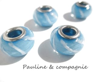 4 blue and white lampwork glass beads