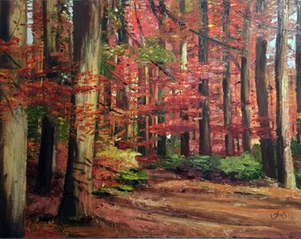 Autumn forest (oil on canvas)