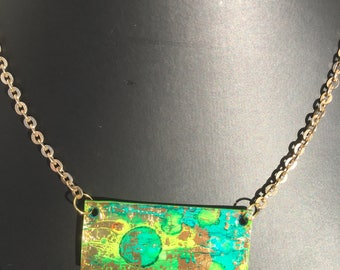 Handmade Recycled paper bib style necklace