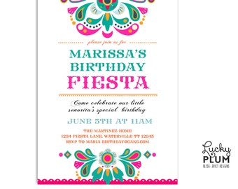 Fiesta Birthday Invitation / Papel Picado Birthday Invitation / Mexican Birthday Invitation / Tribal Boho Invitation / Folk art flower