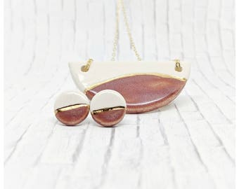 Pink and gold necklace set porcelain earrings set gold dipped necklace nickel free chain women gift half circle necklace clay jewelry set