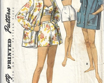 Simplicity 1659  - Playsuit Pattern - Bra Top Shorts Coat Pattern - Vintage Sewing Pattern Size 16 Bust 34 - 1950s summer pattern set