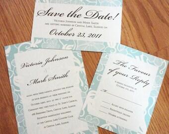 Wedding Invitation Set - Light Blue and Chocolate Brown Wedding Invitation Set - Floral Wedding Invitation - Formal Script Classic Invite
