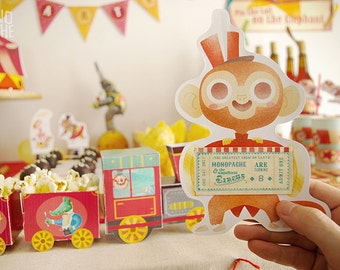 Circus Invitation - Circus Birthday Party - editable text - Instant Download - by Monopache