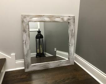 WHITEWASH Mirror, Bathroom, Wood Frame Mirror, Rustic Wood Mirror, Bathroom Mirror, Wall Mirror, Vanity Mirror, Small Mirror, Large Mirror