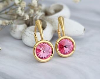 Swarovski earrings, Dainty earrings, Minimalist earrings, Crystal earrings, Sterling Silver earrings, Pink everyday earrings, Gold earrings