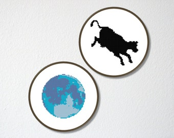 Counted Cross stitch Pattern PDF. Instant download. Cow jumping over the Moon. Includes easy beginner instructions.