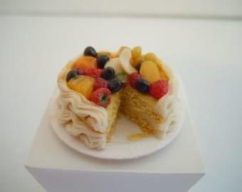 Miniature Cake ~ Yellow Cake ~ Fruit Cake ~ Bakery ~ Dessert ~ Baked Goods ~ Sweets ~ Kitchen ~ Fairy garden ~ Dollhouse ~ Accessories