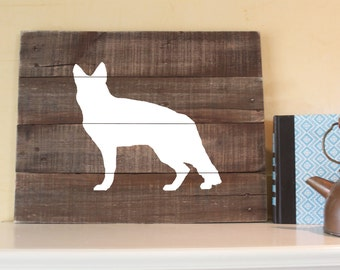 German Shepherd, Reclaimed Wood Sign, German Shepherd Sign, Wood German Shepherd, German Shepherd Art, GS Dog Sign, Gift, Rustic Dog Sign