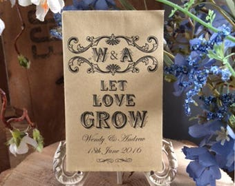 """Personalised Wedding Favour Empty Seed Packets x 20 - """"Let Love Grow"""" or """"Grow Some Love"""""""