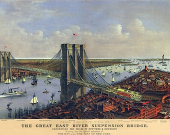 Map of Brooklyn Bridge by Currier and Ives; 1885; Antique Birdseye Map
