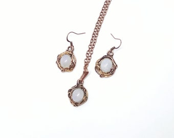 Copper wire wrapped jewelry set with moonstone birthstone Moonstone necklace Moonstone earrings Wire wrap rustic Gift for mom Birthday gifts
