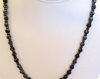 Snowflake Obsidian with black onyx fan necklace.