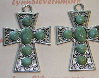 1 pcs per pack 52x40  mm Textures print Cross Pendant with Turquoise Silver Lead Free Pewter