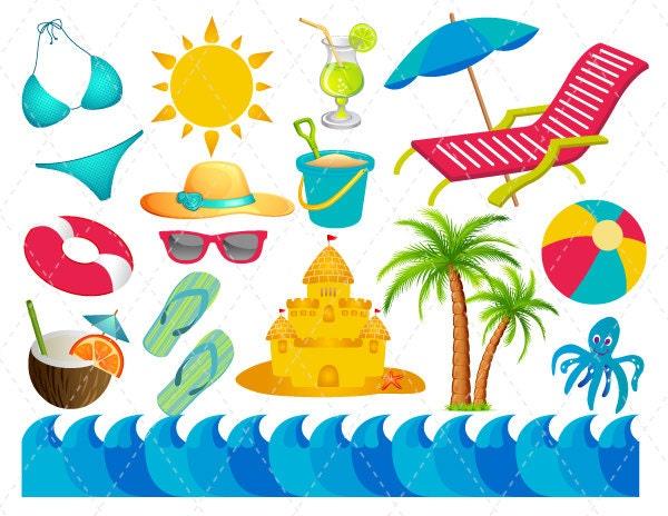 Digital Beach Vacation Clip Art Summer Fun Clipart