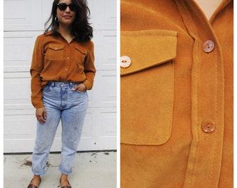 Golden Orange Velour Button Down Shirt