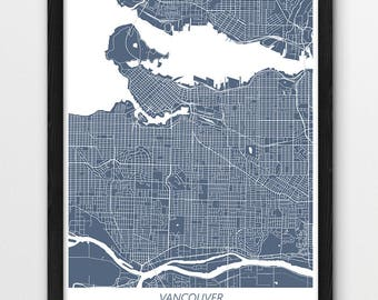 Map of vancouver etsy vancouver map print vancouver poster print vancouver canada urban street map print blue color map home wall office decor printable gift gumiabroncs Image collections